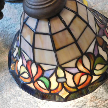 Stained Glass Tiffany Chandelier..Lovely Vintage, 3 Globes/Brass Body, No Chips or Cracks, Working Condition