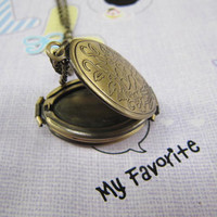 the brass fold locket necklace Antique personalized jewelry steampunk Unique gift vintage bronze