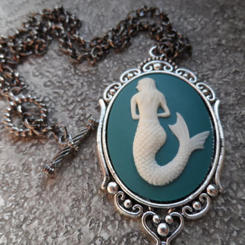 Mermaid Cameo Necklace, Siren of the Sea