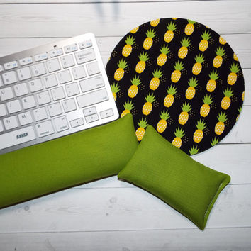 pineapples Keyboard rest and or WRIST REST MousePad set  green black coworker gift - office Desk Accessories