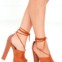 What You Wanna Do Whiskey Brown Lace-Up Platform Heels