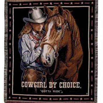 Throw Blanket - Cowgirl And Horse