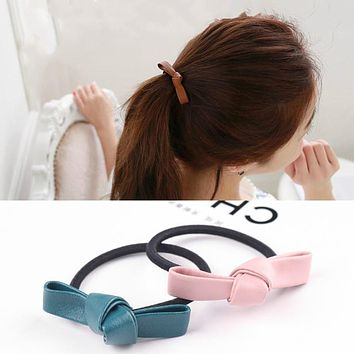 2017 New Girl Floral Leather Bows Headbands Bandage Head Bands Elastic Hair Accessories For Women Jewelry Knot Scrunchies Gum