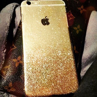 Gold Silver iPhone 6 4.7 6 Plus 5.5 Glitter Sparkle Case Cover Skin Rhinestones Hard Plastic Clear Transparent