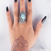 Shield Teal Stone Ring