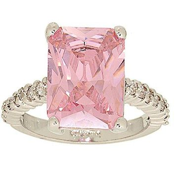 Large Emerald Cut Pink Cubic Zirconia Solitaire Ring with Tiny Side Stones