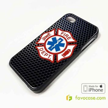 EMT EMS Resque Fire Department iPhone 4/4S 5/5S/SE 5C 6/6S 7 8 Plus X Case Cover