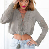 Grey Flared Sleeves Lace-Up Crop Top