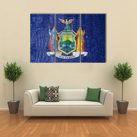 Flag Of New York State Multi Panel Canvas Wall Art
