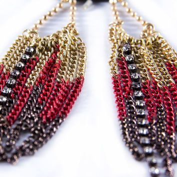 Coral Chain Link Earrings