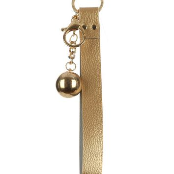 Gold Faux Leather Strap Bag Accessory Key Chain