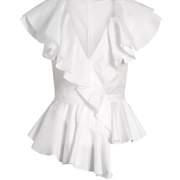 Ruffle-trimmed peplum-waist top | Alexander McQueen | MATCHESFASHION.COM UK