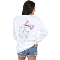 Arkansas Naturally Preppy Long Sleeve Tee in White by Lauren James