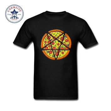 Natural Cotton Buffy Sketch Pizza Printed Style Men's Crew - Neck T-Shirt Top Tees