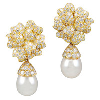 VAN CLEEF & ARPELS Diamond & Cultured Pearl Earrings