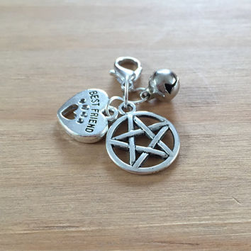 Protective Pet collar charm ~ pentagram, Best friend heart charm  & Bell ~ Cat or Dog