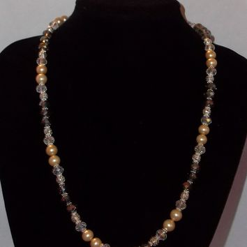 "Grey Swarovski Crystals & Vintage Champagne Pearl Bead Mother of the Bride Silver 22"" Necklace"