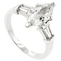 Beautiful Marquise & Bar Set Side Stone Accents Simulated White Diamond CZ Ring, 18K White Gold Filled Rhodium Metal: Jewelry: Amazon.com