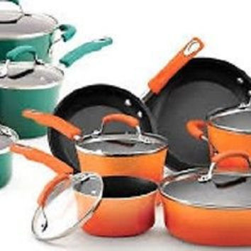 Rachael Ray Hard Enamel Nonstick 10-Piece Cookware Pots and Pans Set, Red