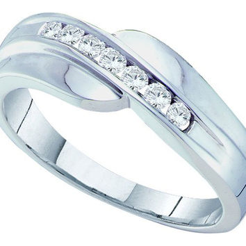 Round Diamond Mens Fashion Band in 14k White Gold 0.25 ctw