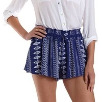 Blue Combo Tribal Print High-Waisted Shorts by Charlotte Russe