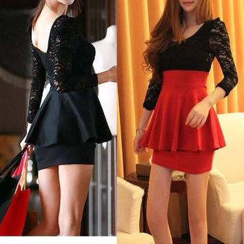 Sexy Black Lace Long Sleeve Clubbing Cocktail Party Mini Women Dress New Fashion = 1945680004