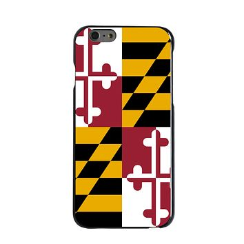 DistinctInk® Hard Plastic Snap-On Case for Apple iPhone - Maryland State Flag