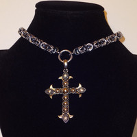 Cross Pendant Chainmaille Choker Necklace