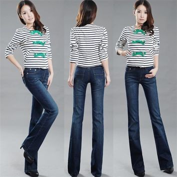 Free Shipping Higfh Quality Women's Bell-bottom Jeans Female Denim Boot Cut jeans Flar
