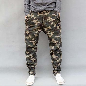 Military Army Green Camouflage Cotton Brand Trousers Loose Harem Pants Mens Joggers Hiphop Clothes Elastic Jeans Big Size S-6XL