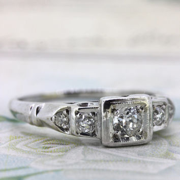 Antique Diamond Engagement Ring | 1930s Art Deco Ring | 14k White Gold Wedding Ring | 1940s Mid Century Engagement Ring | Size 6.75