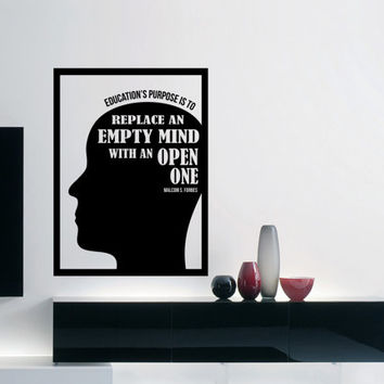 "Malcom S. Forbes Wall Decal Quote Monogram ""Education's purpose is to replace an empty mind with an open one"" 17 x 23 inches"