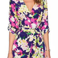 Floral Surplice Front V-neck Romper with Sleeve
