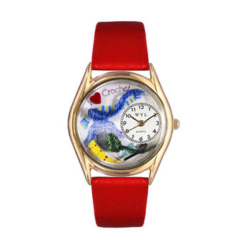 Whimsical Watches Nurse Gift Accessories Love Crochet Themed Red Leather And Goldtone Watch