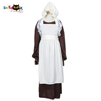 Cool Victorian Maid Cosplay Costume Girls Maid Dress Long Sleeve Dresses Skirt for Children with White Apron Bonnet Party HalloweenAT_93_12