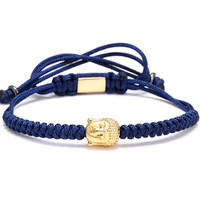 Men Bracelets,4mm 28K Gold Round Beads and Buddha Head Bead Braiding Macrame Bracelet For Men Braided Rope Friendship Bijoux navy