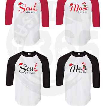 Soul Mate Christmas Couple Shirts SET OF 2 (Straight Fit Raglan)