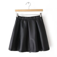 Black Elastic Waist Pleated Leather Mini Skirt