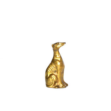 Vintage Brass Dog Brass Greyhound Greyhound Dog Greyhound Figurine Greyhound Statue Greyhound Sitting Down LARGE Brass Dog