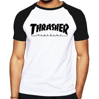 2016 Mens Cool Skateboards T Shirt Good Quality Cotton Hip Hop Trasher T Shirt Fashion Street Thrasher Tshirt hot sports jerseys