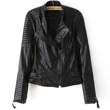 Zipper Slim Leather Asymmetry Jackets Outerwear