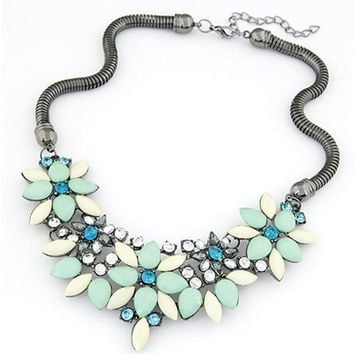 TOMTOSH 2016 New sell Fashion Retro style Colorful gem rhinestone flower choker necklace Statement jewelry women
