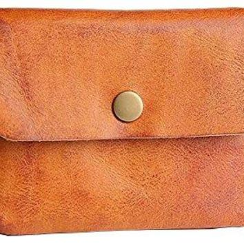 ETIAL Real Leather Vintage Snap Wallet Change Purse for Men Women