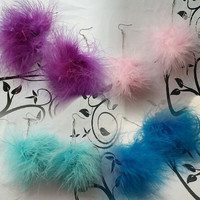 Pom Earrings, Feather Earrings - Blue Fluffy Marabou Earrings - Pom Pom Earrings - plastics - clueless - medium blue feather earrings