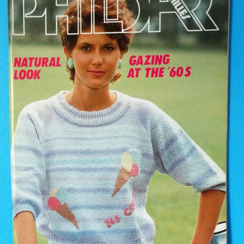 Phildar Knitting Pattern Book Retro 60s Style Sweaters Knits Men Women Vol 96 Vintage 1982 Destash