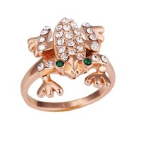 Frog Ring Gold Plated Ring Health Jewelry Nickel Free Austrian Crystal Rings, Size 8