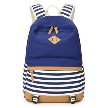 Striped Canvas Durable College Backpack