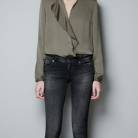 BLOUSE WITH FRONT RUFFLE - Shirts - Woman - ZARA United States