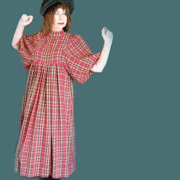 Vintage Loose Dress - 1960s Red Plaid Dress for Holidays - Maternity