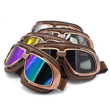 ac NOOW2 Leather Motorcycle Goggles Retro Flying Scooter Aviator Helmet Glasses Outdoor Sports Eyewea Vintage Motorbike Glasses